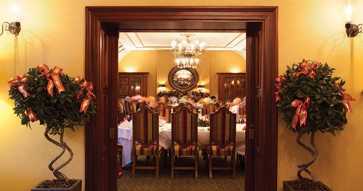 Festive private dining in The Library Restaurant